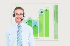 biznesmen jest ubranym głowę ustawiającą przeciw grafiki tłu Fotografia Stock