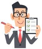 Biznesmen jest ubranym szkła pióro i listę kontrolną royalty ilustracja