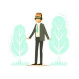 Biznesmen jest ubranym VR słuchawki z lasowego drzewa projekcją, technologia zwiększał rzeczywistość wektoru ilustrację Zdjęcia Stock