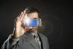 biznesmen kamery fotografii mobilny brać Obrazy Royalty Free