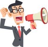 Biznesmen komunikuje opinie z głośnikiem royalty ilustracja