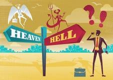 Biznesmen Kontempluje nieba i piekła dylemat Zdjęcie Stock