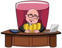 Biznesmen kreskówki szefa pieniądze Łysy bogactwo ilustracji