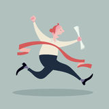 Biznesmen krzyżuje kreskowego zwycięzcy Zdjęcie Royalty Free