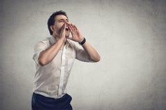 Biznesmen krzyczy dla pomysłu Fotografia Stock
