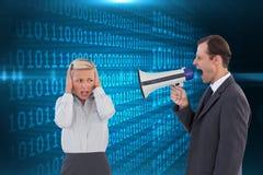 Biznesmen krzyczy przy kolegą z jego megafonem Obraz Royalty Free