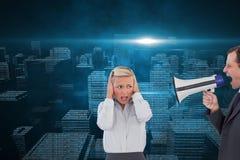 Biznesmen krzyczy przy kolegą z jego megafonem Fotografia Stock