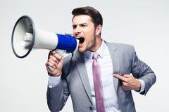 Biznesmen krzyczy w głośniku Obraz Stock