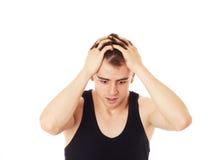 Biznesmen krzyczy z rękami na głowie Zdjęcia Stock