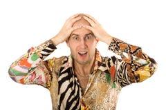 Biznesmen krzyczy z rękami na głowie Zdjęcie Stock