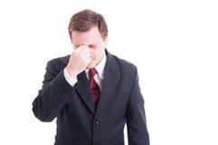 Biznesmen, księgowy lub pieniężna kierownik migrena, obraz stock