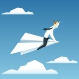 Biznesmen lata na papierowym samolocie i patrzeje naprzód ilustracji