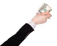 Biznesmen liczy pieniądze w rękach Zdjęcia Royalty Free