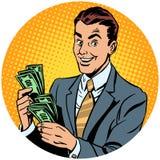 Biznesmen liczy pieniądze wystrzału sztuki avatar charakteru ikonę Fotografia Stock