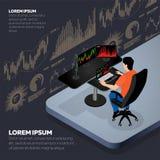 Biznesmen lub rynku papierów wartościowych handlowiec royalty ilustracja