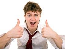 biznesmen mówi super kciuk Fotografia Stock