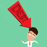 Biznesmen martwiący się o dużym długu Długu pojęcie Obrazy Stock