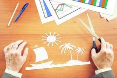 Biznesmen marzy o wakacje w zwrotnikach Obraz Stock