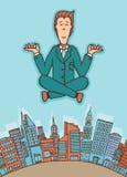 Biznesmen medytuje w pokoju royalty ilustracja