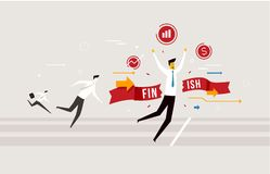 Biznesmen mety skrzyżowanie, wygrywa rywalizacja sporządzać mapę wzrostowego sukces Sukces, tempa ilustracja wektor