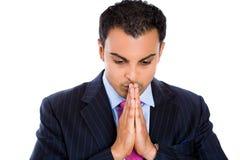 Biznesmen myśleć naprawdę mocno z rękami przed wargami Zdjęcie Stock
