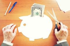 Biznesmen myśleć o savings pieniądze w USA dolarach Zdjęcie Royalty Free