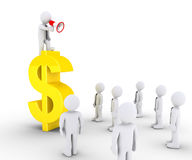Biznesmen na dolarowym symbolu dzwoni inny Fotografia Royalty Free
