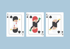 Biznesmen na Jack, królowa, królewiątko, karta do gry Obrazy Stock