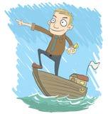 Biznesmen na łodzi Zdjęcie Royalty Free