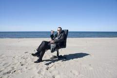 biznesmen na plaży Obraz Stock