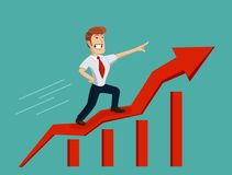 Biznesmen na prętowym wykresie Obrazy Stock