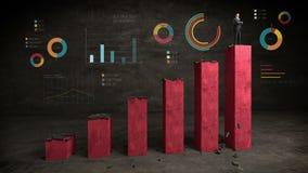 Biznesmen na przyrostowym prętowym wykresie z różnorodnym diagramem, powstający rynek zbiory