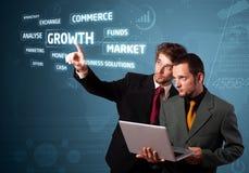Biznesmen naciska nowożytnych biznesów guziki Zdjęcie Stock