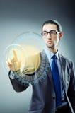 Biznesmen naciska wirtualnych guziki w futurystycznym pojęciu Fotografia Royalty Free
