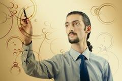 Biznesmen naciska wirtualnych guziki w futurystycznym pojęciu Obraz Stock