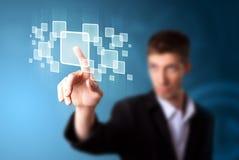 Biznesmen naciska zaawansowany technicznie typ nowożytni guziki Obraz Stock