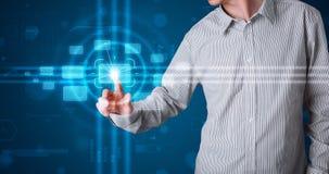 Biznesmen naciska zaawansowany technicznie typ nowożytni guziki Zdjęcie Stock
