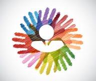 biznesmen nad różnorodność ręk okręgiem ilustracji