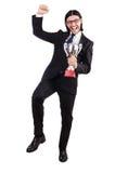 Biznesmen nagradzający z nagrodzoną filiżanką obraz stock