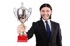 Biznesmen nagradzający z nagrodzoną filiżanką obrazy royalty free