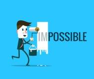 Biznesmen obraca słowo Niemożliwego w Ewentualnego Zdjęcie Royalty Free