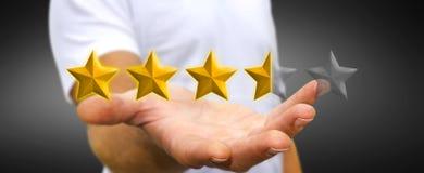 Biznesmen oceny gwiazdy z jego ręka Obraz Stock