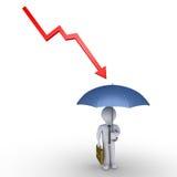 Biznesmen ochrona parasolem Zdjęcia Royalty Free