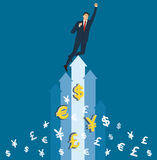 Biznesmen odświętność na strzała i pieniądze ikon wektorze, biznesowa pojęcie ilustracja ilustracja wektor