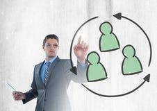 Biznesmen oddziała wzajemnie grupy ludzi i wybiera odświeża ikonę Zdjęcie Royalty Free