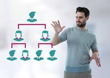 Biznesmen oddziała wzajemnie z ludźmi biznesu ikon łączyć Zdjęcia Royalty Free