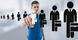 Biznesmen oddziała wzajemnie osoby i wybiera od grup ludzi ikon Obraz Royalty Free