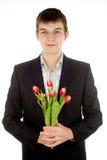 Biznesmen ofiary tulipan Fotografia Royalty Free