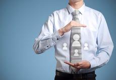 Biznesmen ogólnospołeczne medialne ikony w rękach Zdjęcia Stock