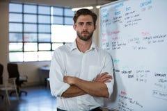 Biznesmen opiera na whiteboard Fotografia Royalty Free